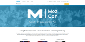 Screenshot of MozCon Website